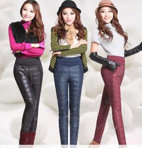 Pantalones De Invierno Para Mujer Grueso Dama Vellon Calido Ajustado Hacia Abajo De Algodon Elastico Pantalones Ebay