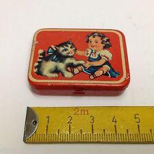 Mädchen mit Katze,alte Miniatur Blechdose f.Kaufladen Zubehör,Kaufmannsladen