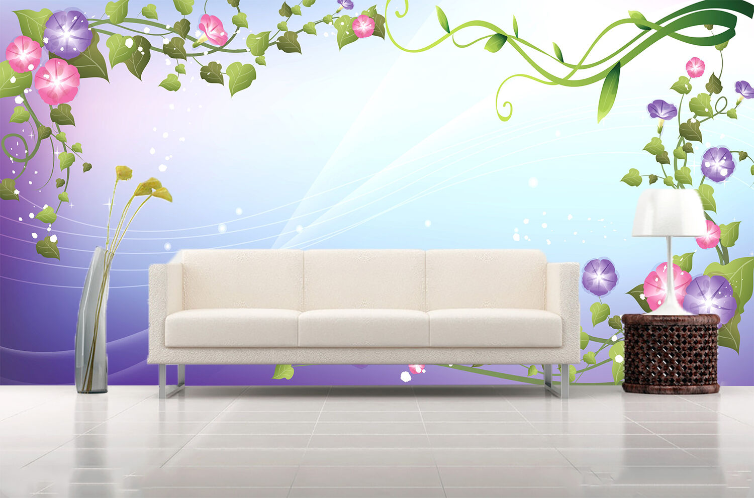 3D Morning glory, leaves 32 Wall Paper Print Wall Decal Deco Indoor Wall Murals