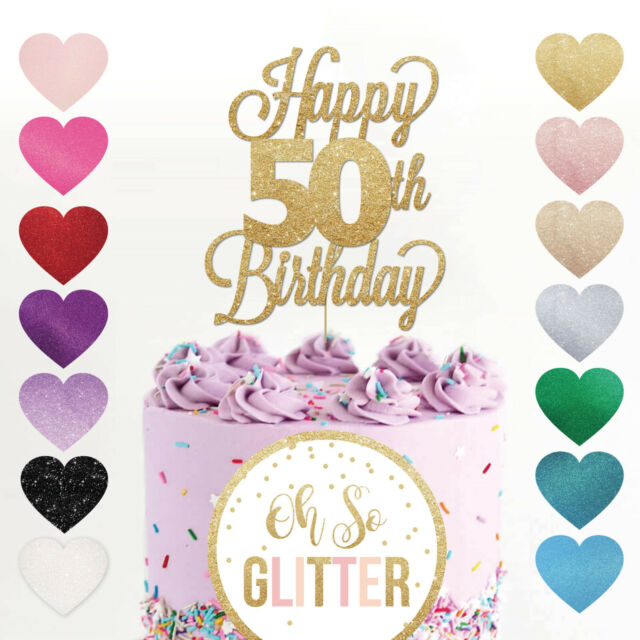 Happy 50th Birthday Cake Topper Fifty Daughter Son Sister Brother Glitter