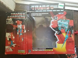 Transformers G1 Perceptor Action Figure Vintage Lot Complete Box and paperwork.