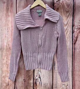 Womans-Girls-knitted-collar-Cardigan-Pale-Pink-Warehouse-zip-up-front-UK-10