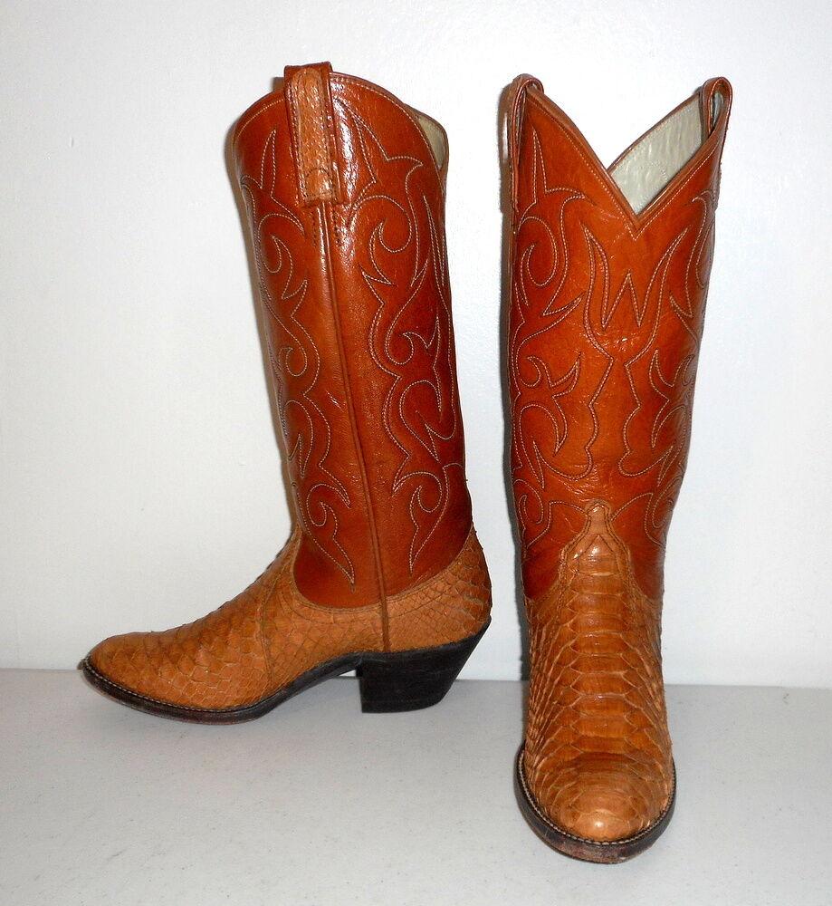 Snakeskin Cowboy Stiefel Größe 5 C Snake Tan Leder Vintage Urban Cowgirl Schuhes