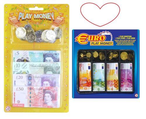 Juego De Dinero Efectivo Monedas Libras euros notas para niños juego de roles tiendas de compras