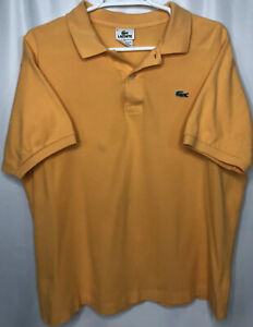 Lacoste-Men-039-s-Polo-Size-6-Medium-Short-Sleeve-Orange-Polo-Shirt-Golf-Button-up