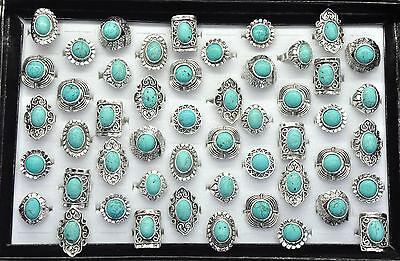 Mix Lots Vintage Gemstone Siler P Turquoise Rings Jewelry Bulk Wholesale 5pcs