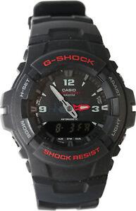 Casio-G100-1B-Men-039-s-G-Shock-Ana-Digital-Watch-Dual-Time-Black-Resin-Alarm-New