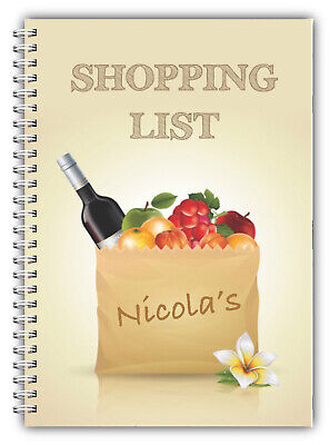 A5 NOTEBOOK PERSONALISED//50 LINED BLANK PAGES SHOPPING LIST GIFT WIRE BOUND 02