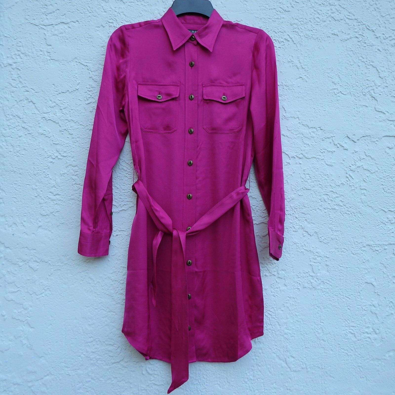 ef2baa0d NWT Lauren Ralph Lauren Satin Long Sleeve Knee Length Shirt Dress Pink SZ 6P