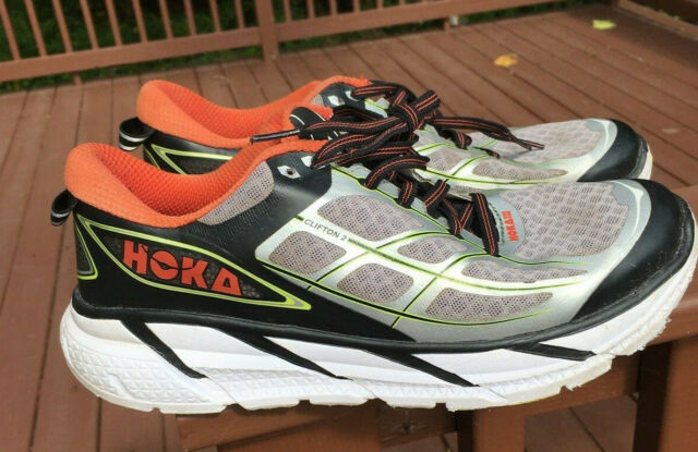 Hoka One One Clifton 2 Running Shoes Men 9.5 Black/Orange/White Running Walking
