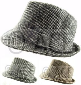 Image is loading Mens-Womens-Unisex-Checker-Checkered-Hats-Costume-Fedora- 1b9b073f6c1