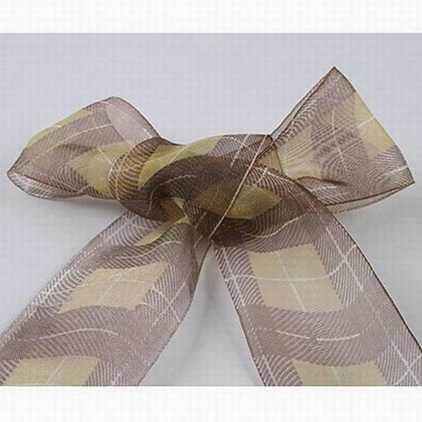 10 yards long 38mm wide yellow brown pattern printed sheer  Organza Ribbon s7007