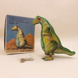 WORKING Vintage Metal Wind-Up Dinosaur WITH KEY Litho Collectors Tin Toy T-REX