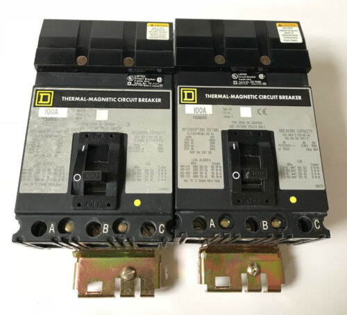 FA34100 Square D 100 AMP 480V 3 POLE I-Line Plug in Circuit Breaker