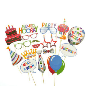 18pcs Birthday Balloons Photo Booth Props Kids Party Decorations