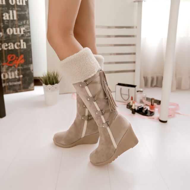 Lamb wool Winter Warm Knee High Boots Wedge Women's Shoes Lace Up Suede Fringe