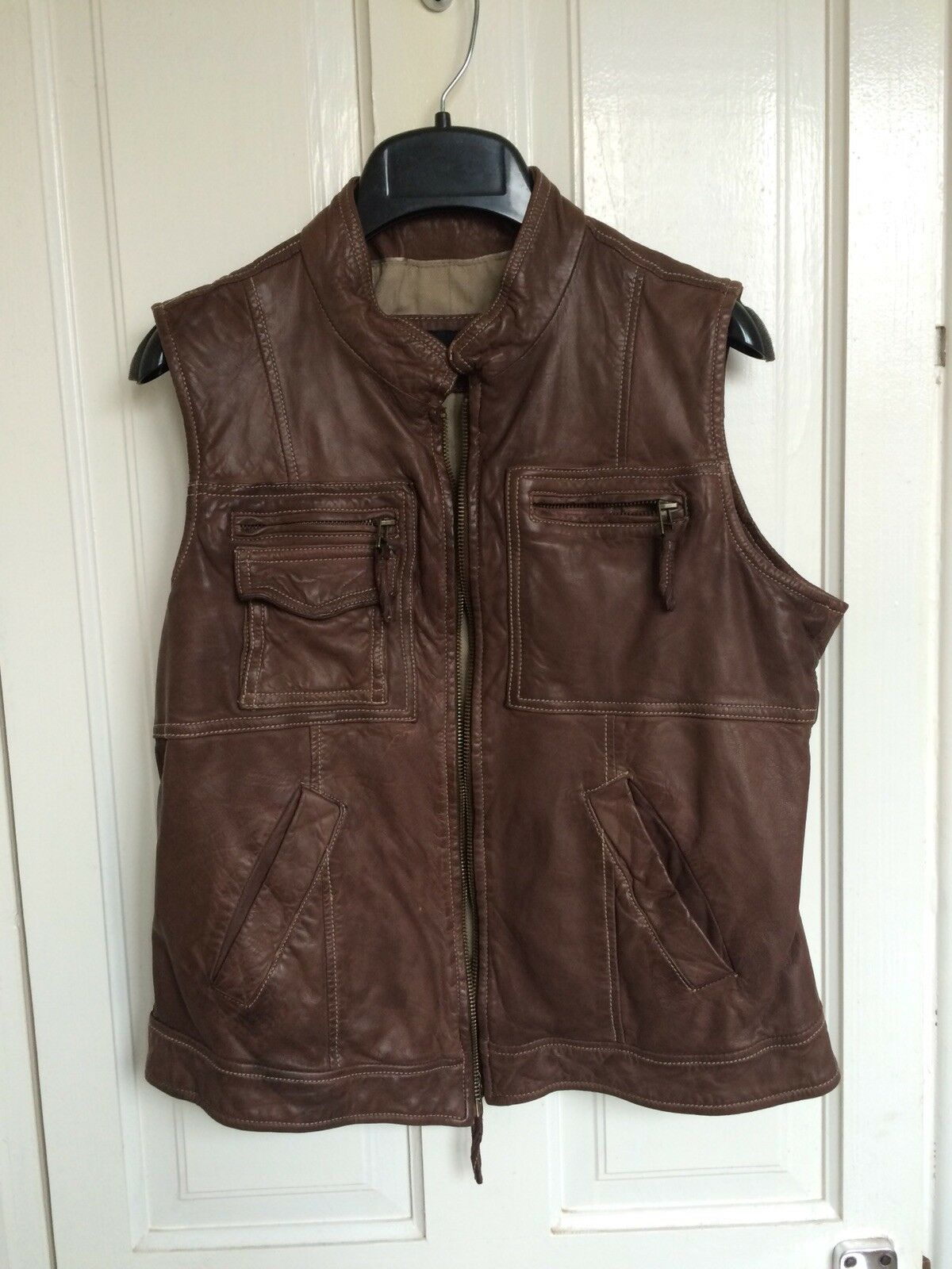 Massimo Dutti Brown Leather Vest Size Large