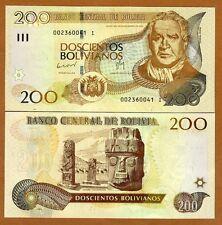 Bolivia, 200 Bolivianos, L. 1986 (2012) Pick 242, Serie I, UNC