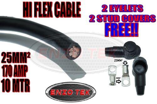 HI FLEX 25MM2 170A AMP BATTERY WELDING STARTER CABLE 10 METERS BLACK EARTH