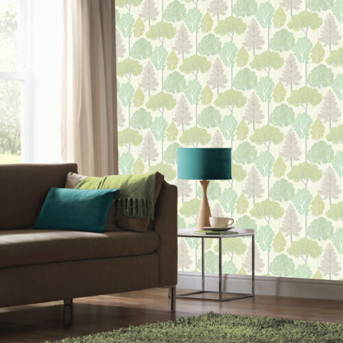 ELLWOOD GREEN GLITTERING SPARKLE TREES QUALITY ARTHOUSE LUXURY WALLPAPER 670004