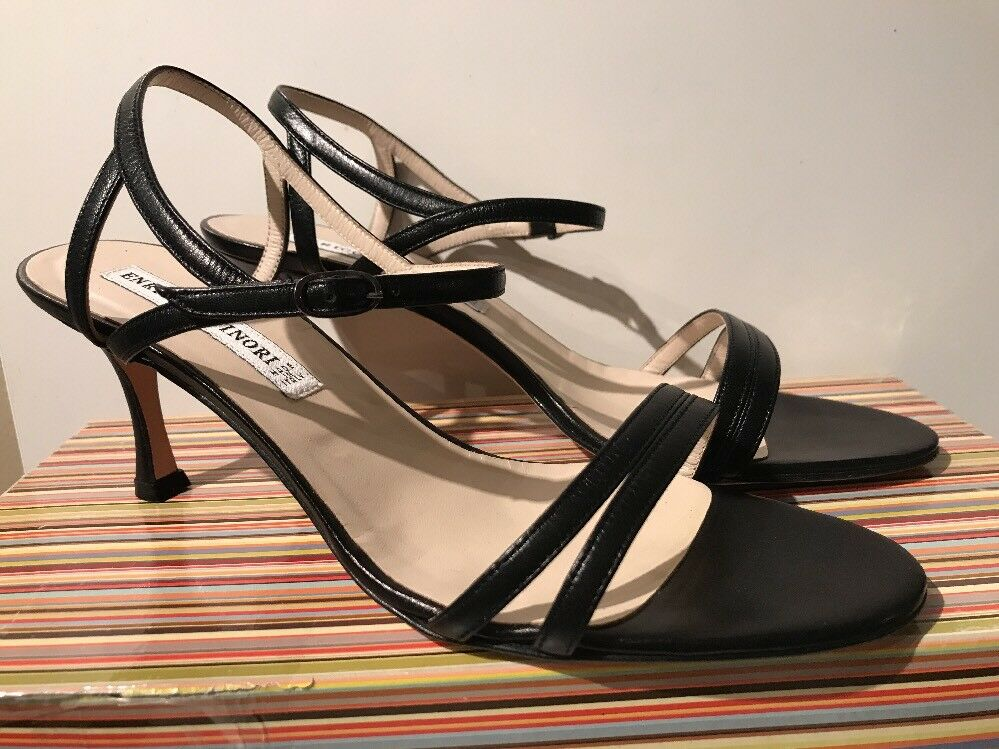 ENRICO ANTINORI ITALY WOMENS BLACK STRAPPY LEATHER HEEL SANDALS SHOES 39   8 NEW