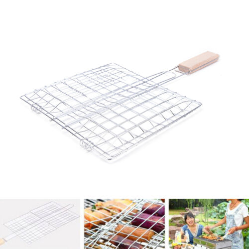 Barbecue Grilling Basket Grill PLQ Net Wooden Handle Meat Fish Vegetable NM