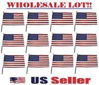 (wholesale Bulk Lot) American Flag United States Small Patriotic Usa On Pole