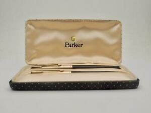 Vintage-Boxed-Parker-65-Fountain-Pen-Rolled-Gold-Cap-amp-Pencil-rare-Beak-Nib-WK07