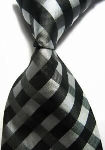 New Classic Striped Dot Black White JACQUARD WOVEN 100/% Silk Men/'s Tie Necktie