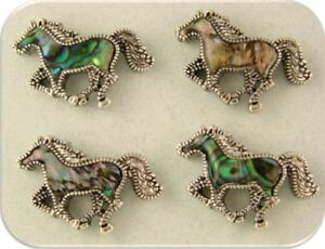 2 Hole Beads Horses Abalone Seashell Galloping Equestrian Silver Jewelry QTY 4
