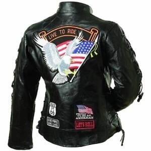 Ladies-Leather-Biker-Motorcycle-Harley-Rider-Chopper-Jacket-Eagle-Patch