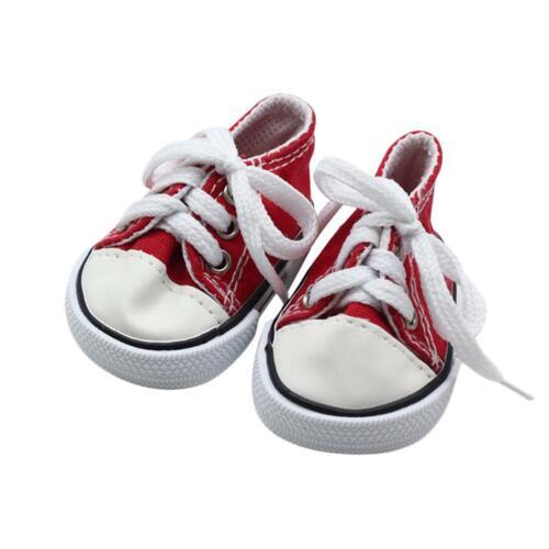 Puppenkleidung Für 18 Zoll Mädchen Canvas Tennis Schuhe Sneakers Schnürsenkel