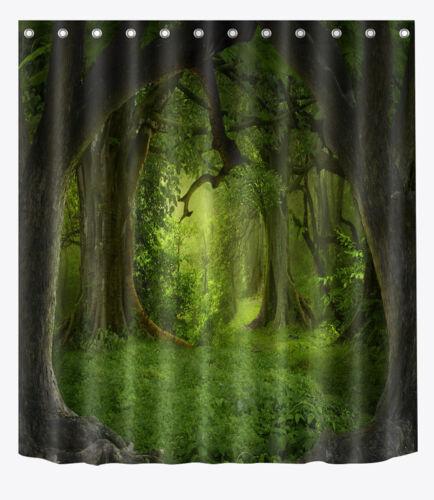 "Shower Curtain Bathroom Mat Rug Waterproof Fabric Decor Forest Scenery 72//79/"" 41"