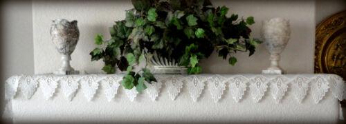 "Antique White Dresser Scarf 64/"" Formal European Lace Mantel Scarf  Runner Doily"