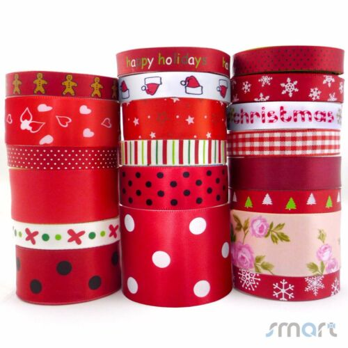 """20Yards Red Theme Assorted Flower Satin Ribbon Lot 20 Styles 1//4/""""--1.5/""""Craft Bow"""