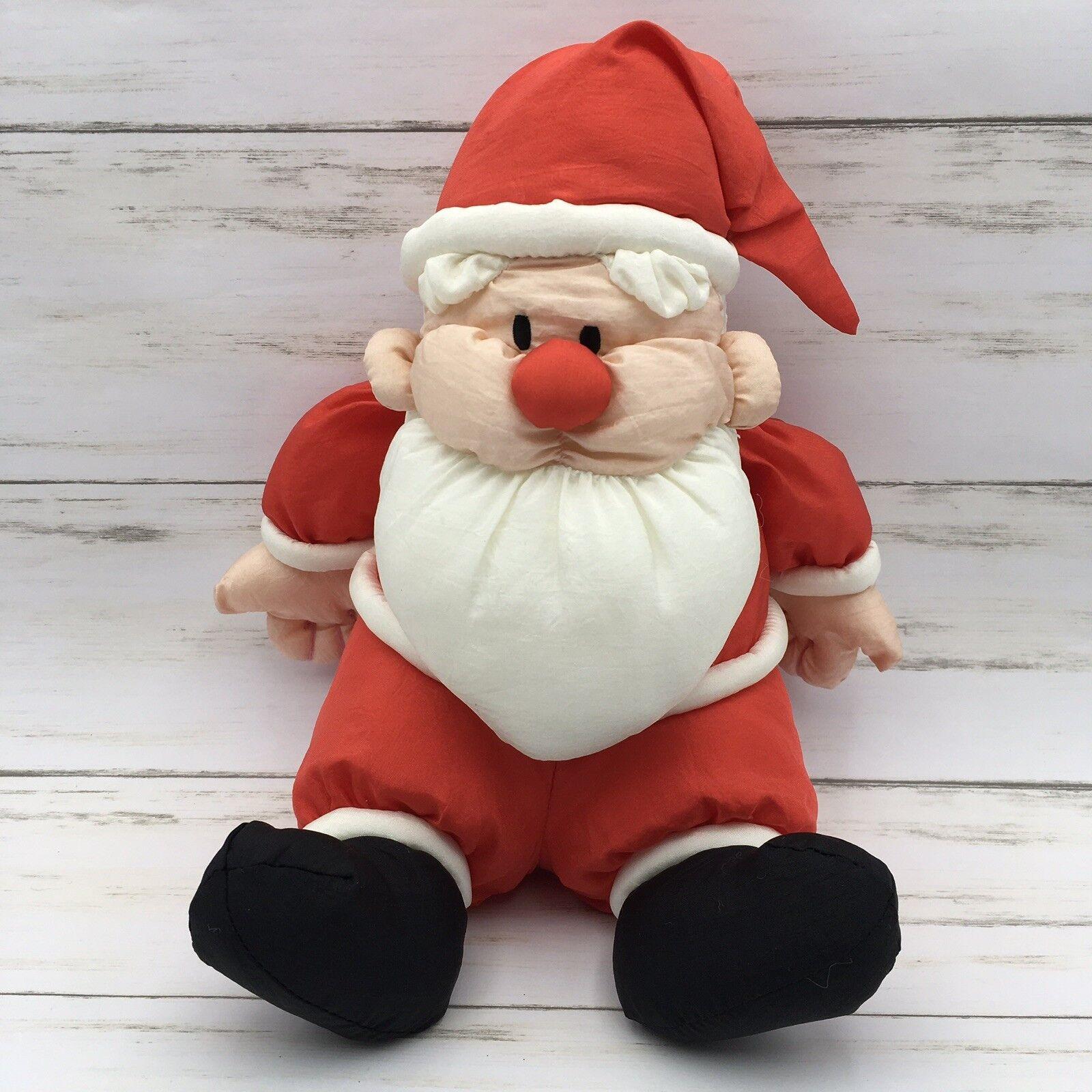 1990 Prestige Toy Corp Santa Nylon Plush Stuffed Christmas 9