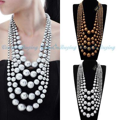 Beauty Women Jewelry Pendant CCB Beads Statement Choker Chunky Bib Necklace