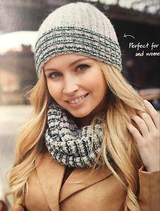 KNITTING PATTERN Ladies Beanie Hat + Cowl Stripes Slip Stitch Design ... 9588918014d