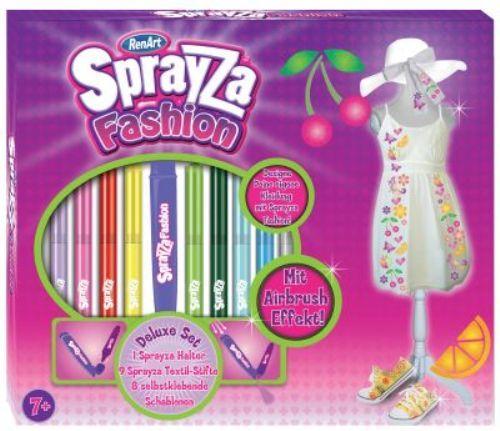 SprayZa Fashion by RenArt DELUXE Set mit Airbrush-Effekt 18tlg. Textil-Stifte