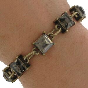 Square-Topaz-Color-Rhinestone-Antiqued-Gold-Tone-Link-Bracelet