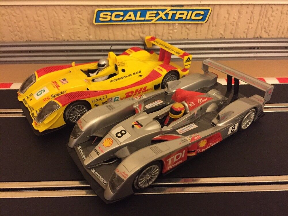 Scalextric Raro Twin Twin Twin Pack remitidos Le Mans, DHL Porsche RS Spyder & Audi R10  el más barato