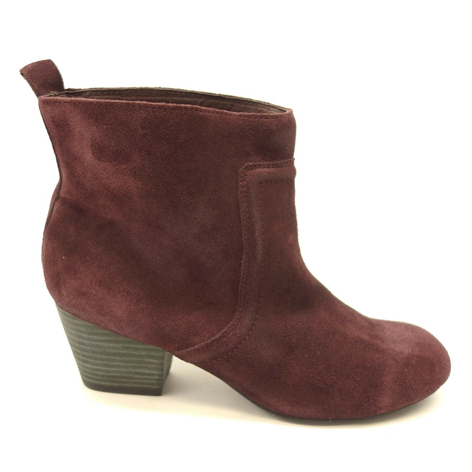 New Joes Jeans Womens Dark Purple Suede Ankle Boots Heeled Booties Sz 8.5 M
