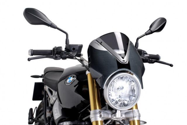 PUIG WINDSHIELD RETRO FOR BMW R NINE T 14-20 DARK SMOKE-CARBON