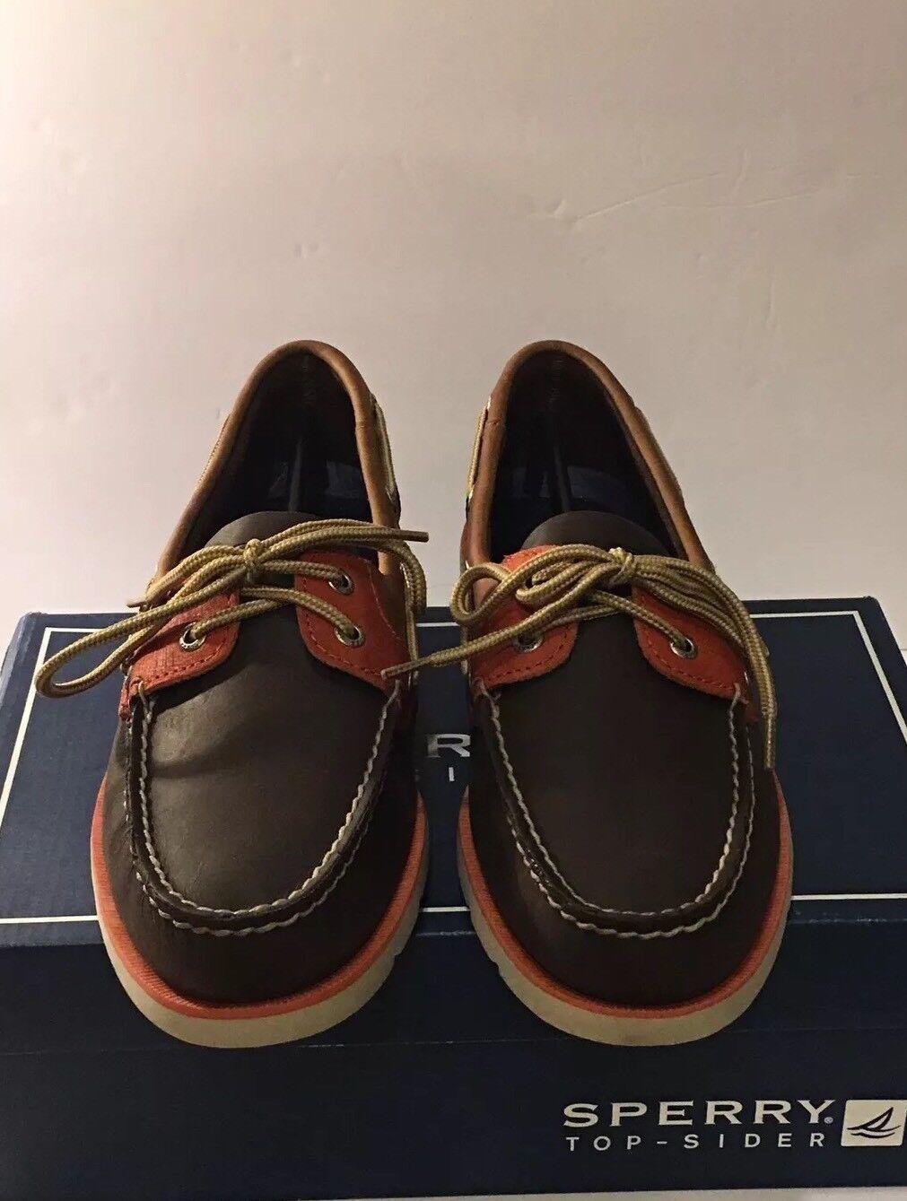 Scarpe casual da uomo  Sperry Top Sider Leeward DK Brown Tan Orange Size 9 uomo's