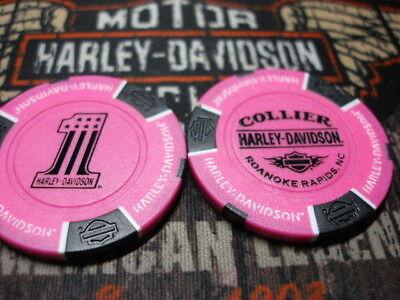 White Black /& Orange #1 Poker Chip Collier Harley Davidson Roanoke Rapids NC