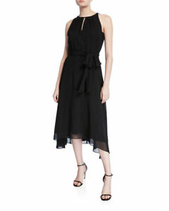 Tahari ASL Womens Halter Tie Neck Sleeveless Dress
