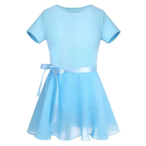 UK Girls Ballet Dance Gymnastics Leotards Tutu Dress Chiffon Two Pieces Outfits