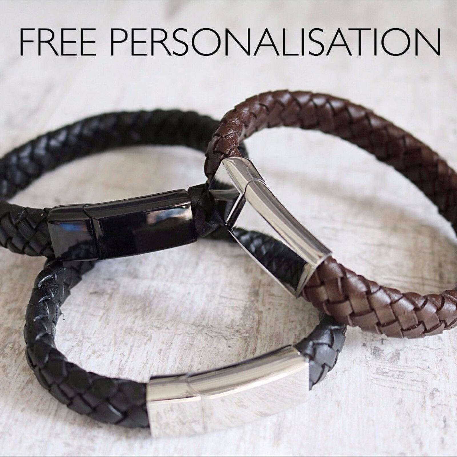 Details about Mens Leather Engraved Bracelet -Free Personalisation - Choice  of Colors & Fonts