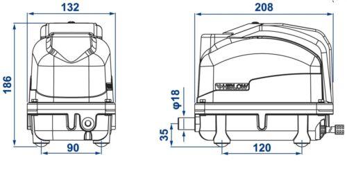 Schlauch und Luftsteinen 60 L//min Verteiler 39 W HiBlow XP-60 Komplettpaket m