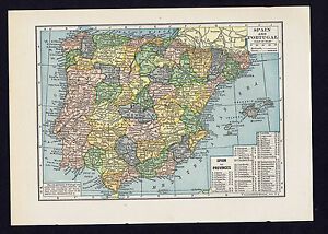 Map Of Spain 1930.Details About Spain Portugal Vintage 1930 Color Map